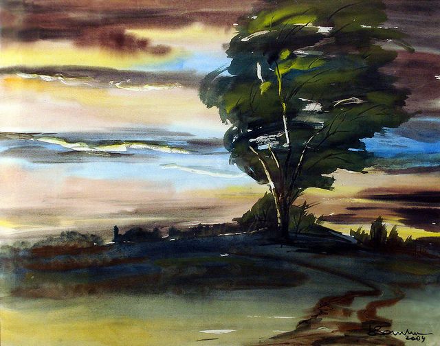 Tree Blowing in the Wind - Painting